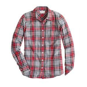 J Crew Tartan Button Down Shirt grey & red size 8